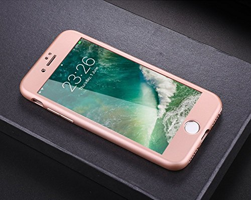 Custodia Cover 360 gradi Protezione per iPhone 7/8 plus Silicone Morbida,Ukayfe [2 in 1] Completa Full Body Cover in Vetro Temperato Screen Protector Film Ultra Resistente per iPhone 7/8 plus Flexible Oro Rosa