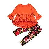 OverDose Mode Kleinkind Kinder Baby Mädchen Solide Asymmetrisch Rüsche Tops Pullover Bluse Langarm Oberteile + Blume Hosen Falten Outfits Kleidung Set(3T,Orange)
