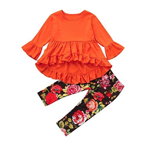 OverDose Mode Kleinkind Kinder Baby Mädchen Solide Asymmetrisch Rüsche Tops Pullover Bluse Langarm Oberteile + Blume Hosen Falten Outfits Kleidung Set(3T,Orange) (3t-fleece)