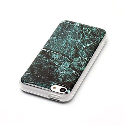 Coque iPhone 5S, LuckyW Housse Etui TPU Silicone Clear Clair Transparente Gel Slim Marbre Case pour Apple iPhone 5 5S SE Soft de Protection Cas Bumper Cover Converture Anti Poussières Couvercle Anti R Vert