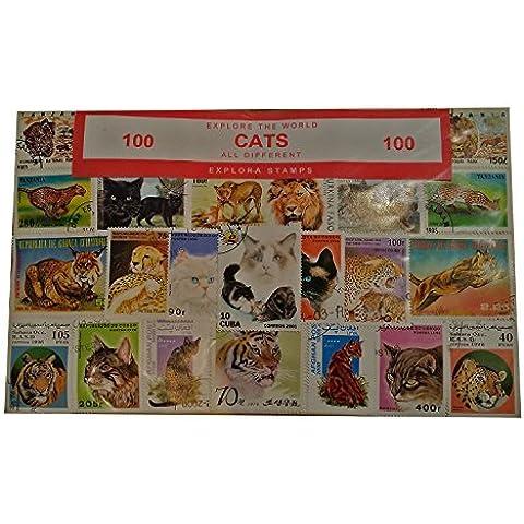 100 francobolli dal mondo di gatti/ gatti selvatici/ leoni, souvenir, da collezione, francobolli