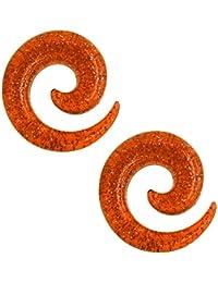 Set Dehnspirale Dehnschnecke Sichel Dehnstäbe Dehnungsstab Piercing Dehner Expander Plug Tunnel Glitzer Glitter Orange, Größe:1.6 mm