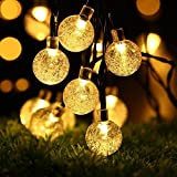 ShineDesign Solar Outdoor String Lights, 20ft 30 LED Fairy Lights with Crystal Ball Covers, Ambiance Lighting, for Outdoor Patio, Pathway, Garden, Party, Bedroom Decor, Christmas Party (Warm white)