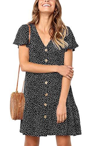 bee3afb9843024 Angashion Sommerkleid Kurzarm Lässige Strandkleid A Line Partykleid mit  Taschen Taste