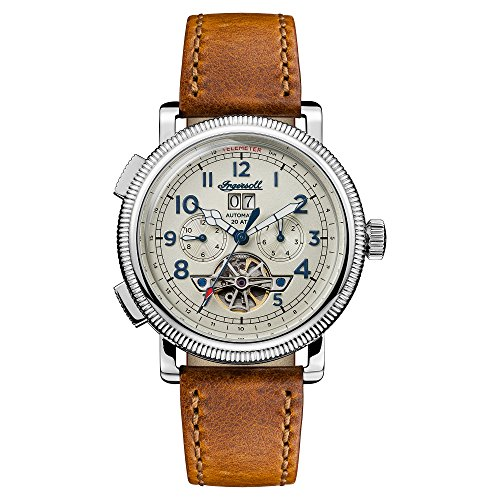 Ingersoll Men\'s The Bloch Automatic Watch with Cream Dial and Tan Leather Strap I02601