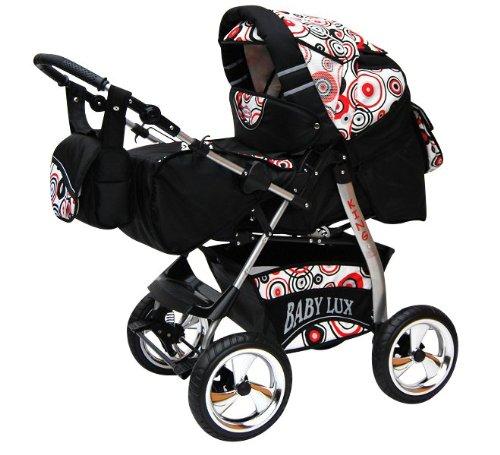 Lux4Kids King Kinderwagen Safety-Set (Autositz & ISOFIX Basis, Regenschutz, Moskitonetz, Getränketablett, Matratze, Wickelunterlage) 31 Cosmic Black & Sporty Dots