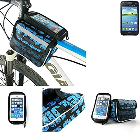 Bike frame bag Front Top Tube Pannier for Samsung Galaxy Core Duos, Head Tube cycling triple case Bicycle mount cradle Mobile Phone Holder, blue, water resistant -