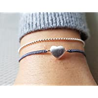 Armband Makramee Herz 925 Silber Glücksband Freundschaftsband