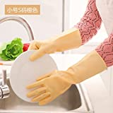 CWAIXX Washing glove _1995 Thin LaTeX household gloves kitchen clean waterproof rubber household gloves , Trumpet S Code Orange