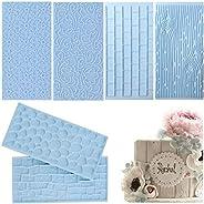 6 Pack Fondant Impression Mat Mold Set, Embossed Tree Bark/Brick Wall/Flower/Cobblestone/Stone Wall Texture De