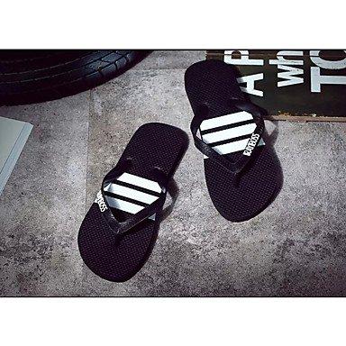 zhENfu Women's Sandals Comfort PU Summer Outdoor Flat Heel Black/White Black White Flat Black