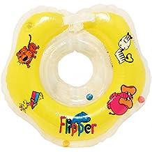 Aleta, flotador anillo inflable de PVC para bebé con correa para el hombro, amarillo