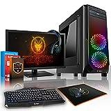 Fierce EXILE RGB Gaming PC Bundle - Schnell 6 x 4.1GHz 6-Core AMD FX-6300, 1TB Festplatte, 16GB von 1600MHz DDR3 RAM-Speicher, NVIDIA GeForce GTX 1050 Ti 4GB, HDMI, USB3, Wi-Fi, 24X DVD/CD Drive, Perfekt für Wettkampfspiele, Windows 10 installiert - Tastatur (VK/QWERTY) / Maus / 21.5-Zoll-Monitor / Headset, 3 Jahre Garantie, (428278)