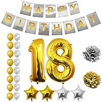 BELLE VOUS Globos Cumpleaños Buon Compleanno, Suministros e Decorazione di Globo Grande de Aluminio - Decorazione Globos De Látex Dorado e Plateado - Aptos para Todos de Peñaños (Age 18)