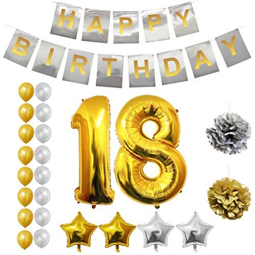 BELLE VOUS Alles Gute zum Geburtstag Folienballons Gold & Silber Party Dekoration Zubehör Set (Age 18)