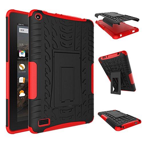 Fire 7 2015 Hülle,AyiHuan Dual Layer Hybrid Rugged Heavy Duty Hard Hülle Schutzhülle mit Kickstand Schutz für Amazon Fire 7 Zoll (5. Generation - 2015 Modell) Tablet,Rote
