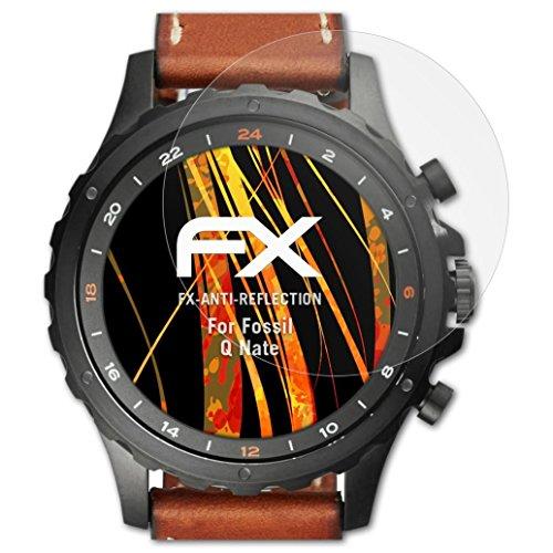 atFoliX Panzerfolie kompatibel mit Fossil Q Nate Schutzfolie, entspiegelnde & stoßdämpfende FX Folie (3X)