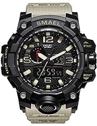 Orologio sportivo digitale multifunzionale di elettronico casuale di affari di sport dell'orologio del quadrante doppio di Digital (Cachi)