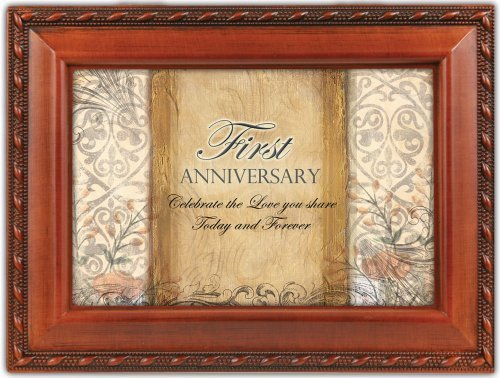 Cottage Garden First Anniversary Woodgrain Music Box / Jewelry Box Plays Unchained Melody