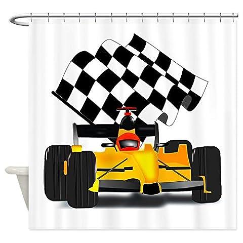 Gelb Race Auto mit karierten Flagge–Dekostoff Vorhang für die Dusche