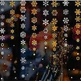 Tenrany Home Flocons de Neige Stickers Muraux de Noel, Amovible Autocollants Décoration Or et Argent Snowflakes Christmas Wall Stickers pour Noël Fenetre Mural Décorations