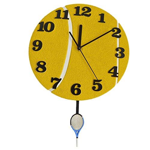 Giftgarden® Orologi da Muro a Forma di Palla da Tennis con Racchetta Giallo