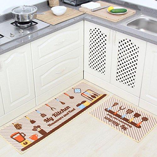 Läufer-gummi Treppe (Küche Teppiche Gummi Zurück Dekorative Rutschfeste Fußmatte Läufer Bereich Staub Matten Sets 2 Stück Geschirr,C)