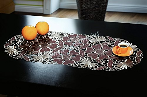 Bestickter Tischläufer, Tischdecken, 40 x 90 cm, braun, weiß, grün, violett, burgunderrot und Blumenmuster, Küchen- und Wohnzimmerdekoration 40cm x 90cm