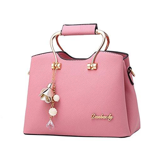 WTUS Damen Neu Welle Mode-Hand Einfach Wilde Hand Schulter Diagonal Paket Shell Umhängetasche Satchel Handtasche Beuteltote Pink