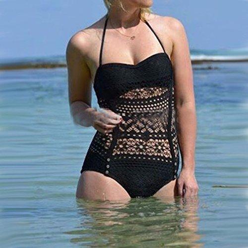 TAO-ZHN Mode Hohlen Atmungs Bikini Badeanzug Black