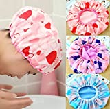 #3: Pramukh enterprice Set of 3Pc Premium Quality Reusable Printed Shower Cap With Elastic Band For Home Use/Salons/Spa/Hair treatment/Beauty Parlours For Both Men And Women Bathing Accessory-Multi Color