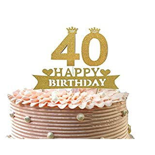 Alemon Glitter 40th Happy Birthday Cake Topper, Forty Cupcake Decorations Size 4.8