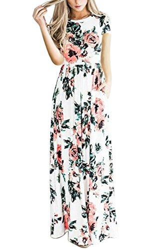 WIWIQS Frauen Blumen gedruckt lange Kleid Reich Swing bodenlangen Kleid weiß (Der Frauen Jahre Kostüme 1940er)