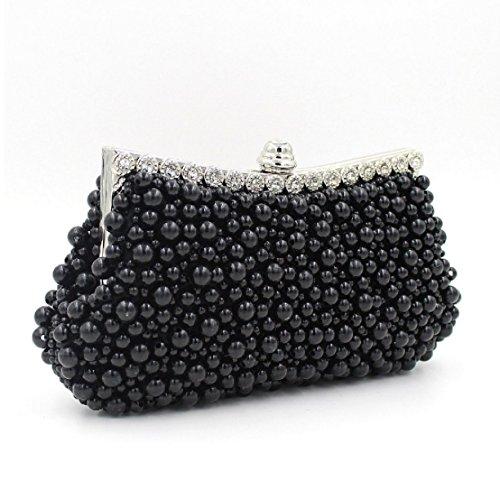 Perlen-Diamant Hochwertige Abendtasche Frauen Brauttasche Handtasche Black
