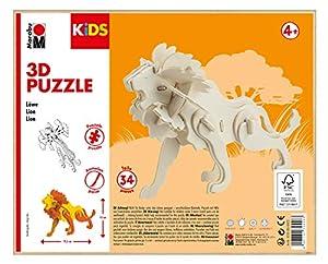 Marabu 0317000000022 Kids 3D - Puzzle de Madera (34 Piezas, Aprox. 19,5 x 13 cm, Color marrón