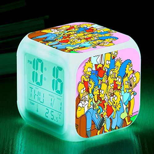 piaolinglifang store Simpsons Bunte Farbe Wecker LED stumm kleine Wecker Geschenk quadratische Uhr elektronisches Geschenk