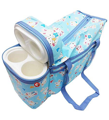 Guru Kripa Baby products Multipurpose Bag Cum Portable Thermal Warmer Cyan with Holder Dipper Changing (Sky Blue)