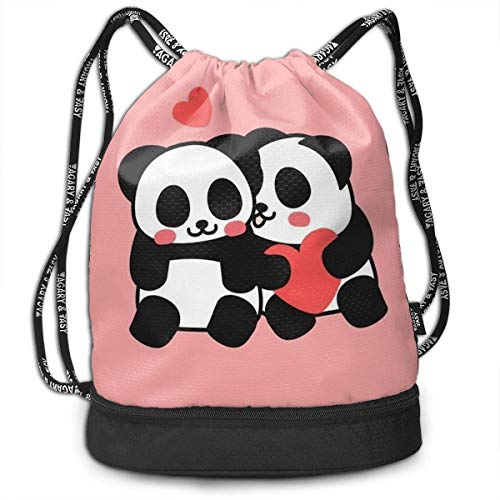 Sporttaschen, Rucksäcke,Polyester Drawstring Bag Theft Proof Waterproof Large Size Rucksack Large Capacity for Basketball, Volleyball, Baseball, (Cute Funny Lover Couple Pandas Pink)