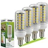 4X Bonker E14 9W Mais Licht 69x 5050 SMD LEDs LED Leuchtmittel (510lm, Warmweiß 3000K, AC 220-240V, 360º Abstrahlwinkel, Ø32×84mm) Energiespar Lampe