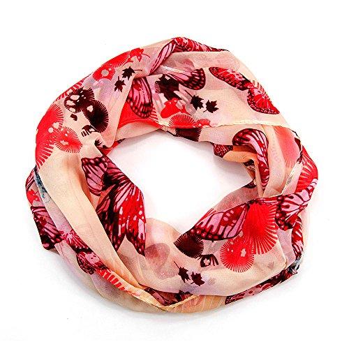 MANUMAR Loop-Schal für Damen | Hals-Tuch in Rot Beige mit Schmetterling Motiv als perfektes Frühling Sommer Accessoire | Schlauchschal | Damen-Schal | Rundschal | Geschenkidee für Frauen und Mädchen
