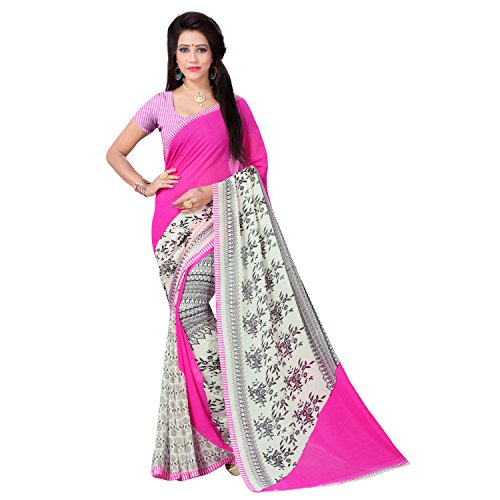 Vimalnath Synthetics Georgette Floral Print Saree (KITE2_Pink)  available at amazon for Rs.299
