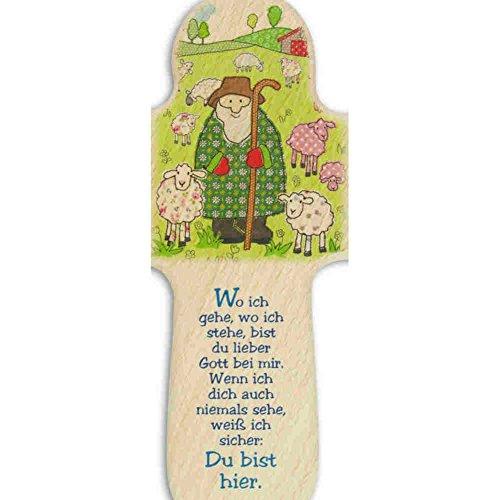 kruzifix24 Devotionalien Kinderkreuz Hirte umgeben mit Schafe/Schäfchen & Text Holz - Taufkreuz Geburt 16 x 10,5 cm - 2
