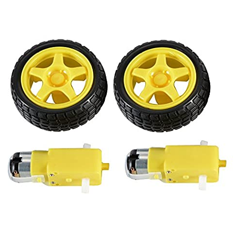 2 sets DC Gear Motor and Tire Wheel for DC 3V-6V Arduino Smart Car Robot Projects (Yellow)