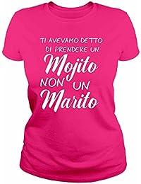 IDEAMAGLIETTA AN0002 T-Shirt Donna Ti avevamo Detto Un Mojito Non Un Marito Idea Regalo Sposa Addio al Nubilato