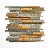 Mosaikfliesen Fliesen Mosaik Küche Bad WC Wohnbereich Fliesenspiegel Stein Kupfer matt 8mm Neu #630