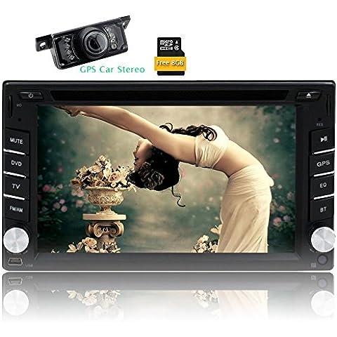 HD reverso impermeable vista de cámara Para Eincar 6.2 pulgadas 2 din estéreo de pantalla táctil del coche de Autoradio apoyo del bluetooth digital de coches reproductor de DVD GPS de navegación gps 8 GB tarjeta del mapa Unidad FM AM Aux Subwoofer Cabeza Sistema Multimedia