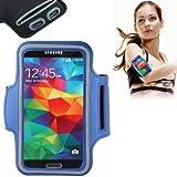 Brassard sport tour de bras bleu foncé pour iPhone 4 & 4S / iPhone 4 (CDMA) / iPhone 3G / 3GS / iPod Touch 4 idéal pour les sportifs, course à pied ou salle de sport avec trous pour écouteurs, bande réflechissante et pochette pour clé.