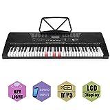 OUTAD Clavier Electronique Piano Numérique Portable, Clavier Standard avec 61 Touches Sensibles au Toucher Style Piano, et Microphone