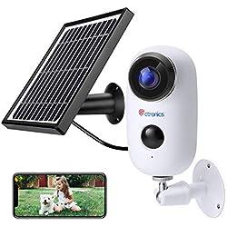 Ctronics Caméra de Surveillance Batterie Rechargeable et Panneau Solaire Caméra IP 1080P WiFi Extérieure sans Fil Détecteur de Mouvement PIR Grand Angle 130 ° Audio Bidirectionnel avec Fente SD Carte