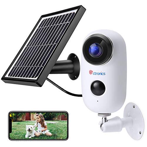 Ctronics Caméra de Surveillance Batterie Rechargeable et Panneau Solaire Caméra IP 1080P WiFi...